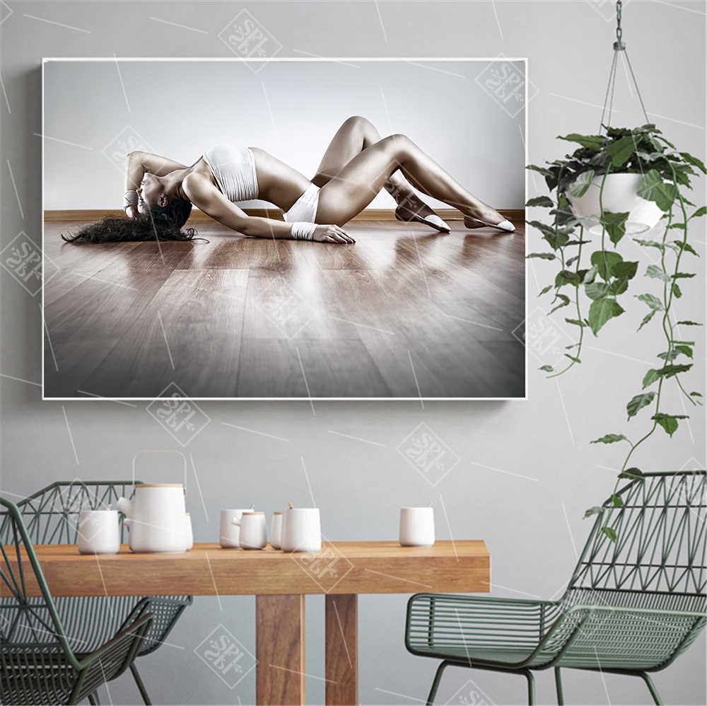 Sexy lady pole dancing canvas painting modern wall art pictures for living room vintage posters and