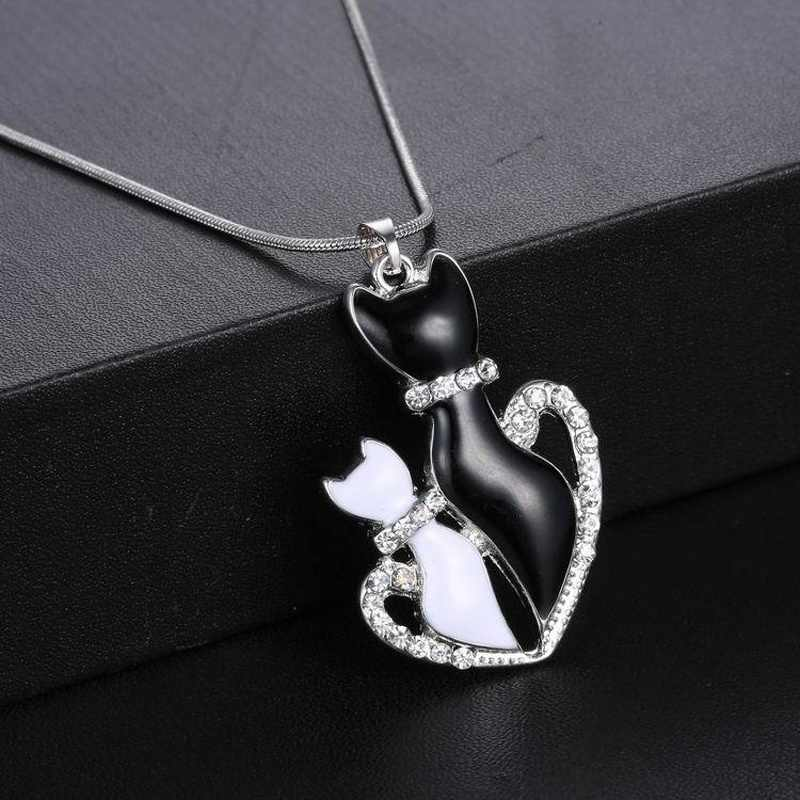 1 個シックなスタイリッシュなかわいい黒 & 白猫ペンダントチェーンネックレスギフト女性のジュエリーホット販売 bisuteria mujer