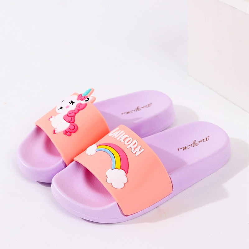 New Cartoon Rainbow Slippers Unicorn Baby Boy Girl Children Summer Beach Water Indoor Home Shoes Children Outdoor New Sandals