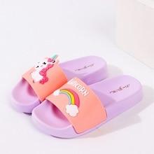 New cartoon rainbow slippers unicorn baby boy girl children summer bea