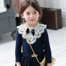 NEW Children Bottoming Shirt Autumn/Winter Kids Clothes Fashion Cotton Long-sleeved palace BOW T-shirt Student Girls Lace Tops