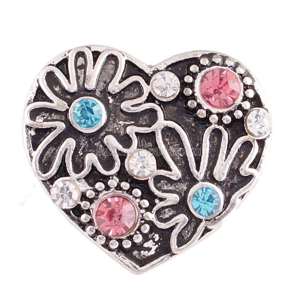 20MM heart snaps Antique Silver Plated with colorful rhinestone snaps jewelry KB6927