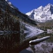 Reflection of a mountain in a lake  Maroon Bells  Aspen  Pitkin County  Colorado  USA Poster Print (36 x 12)