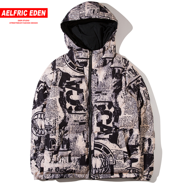 Special Price Aelfric Eden Both Side Wear Thick Winter Parkas Jackets Men Graffiti Print Streetwear Overcoats Warm Hoody Reversible Parka KJ62