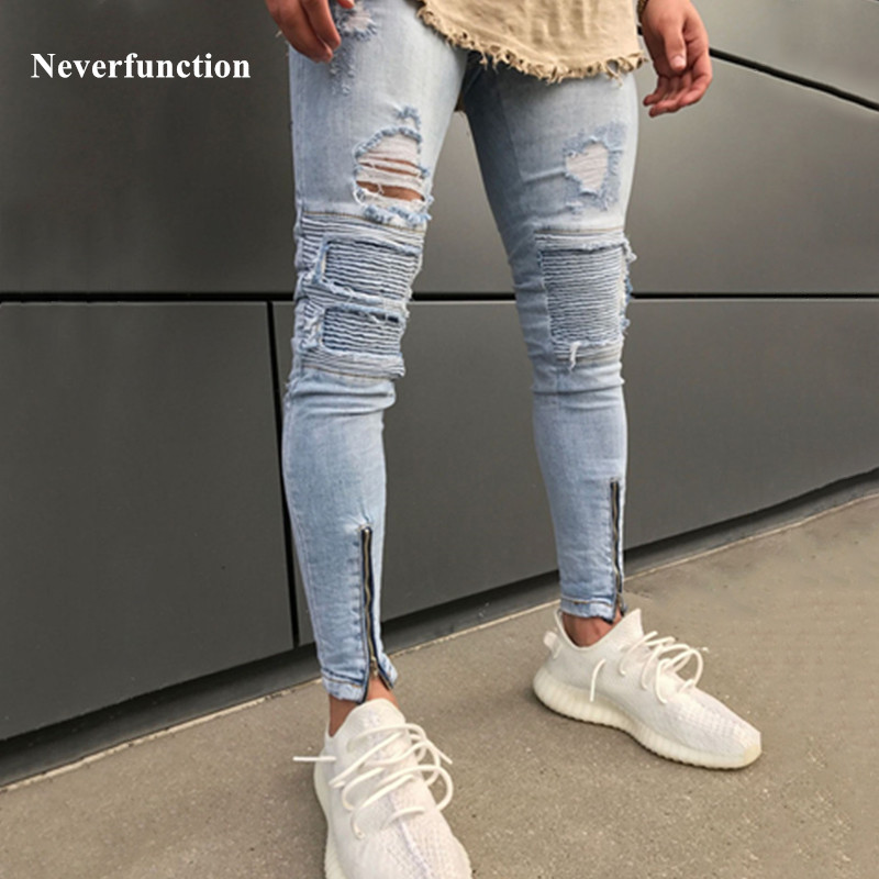 Neverfunction Fashion Knee Holes Men Biker Jeans Ripped Hem Zipper Skinny Destroyed Hip Hop Men Denim Pants Joggers Trousers