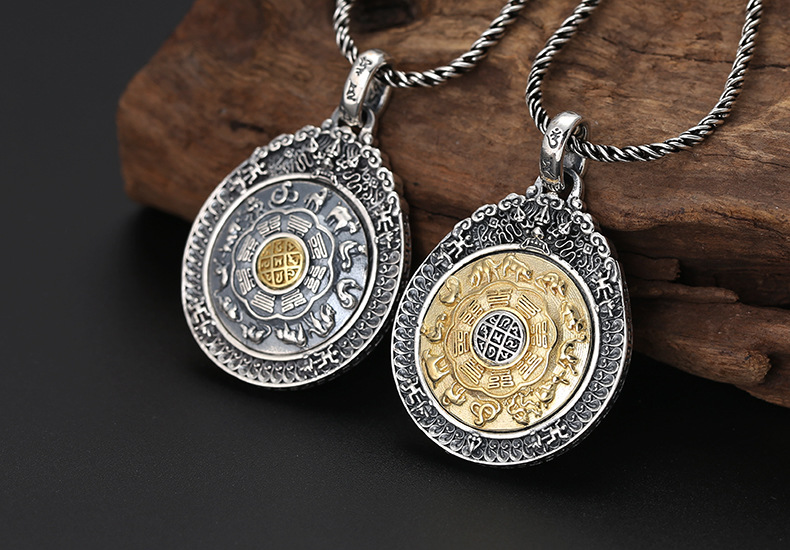 Mahi-Mahi Collier Pendentif Chaîne Verre Tibet bijoux argent