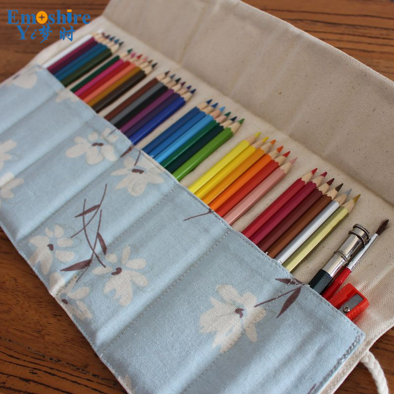 Canvas Colored Pencil Cases 36/48/72 Holes Roll Holder Large Pen Bag School Office Multi-Layer Pencilcase Penalty Case B065 good quality 36 48 72 holes canvas pencil case roll up sketch painting pen box school office pencil stationery bag b066