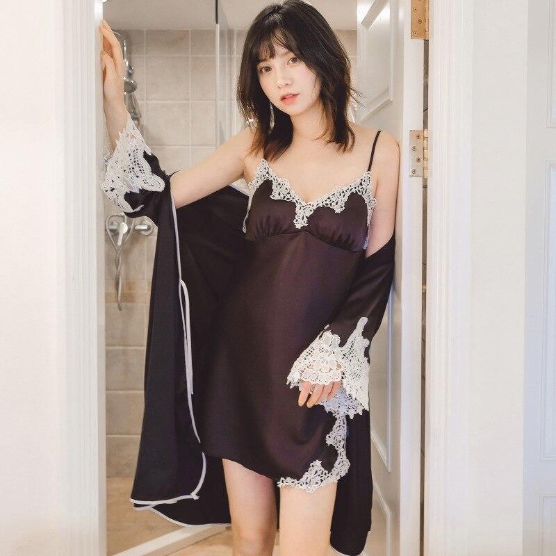 Rayonne vêtements de nuit femmes Kimono Robe de bain Sexy 4 pièces nuisettes printemps été rayonne Cami + Shorts + nuisette + Robe maison porter pyjama ensemble - 5