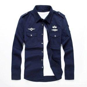 Image 2 - Мужская хлопковая рубашка с длинным рукавом, одежда для фитнеса в стиле милитари, верхняя одежда, рубашки, одежда для фитнеса, AYG75