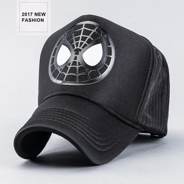 2017 Novo chegada de primavera verão impressão aranha caminhoneiros bonés para homens 58 cm ajustável tampas de malha causal boné preto casquette