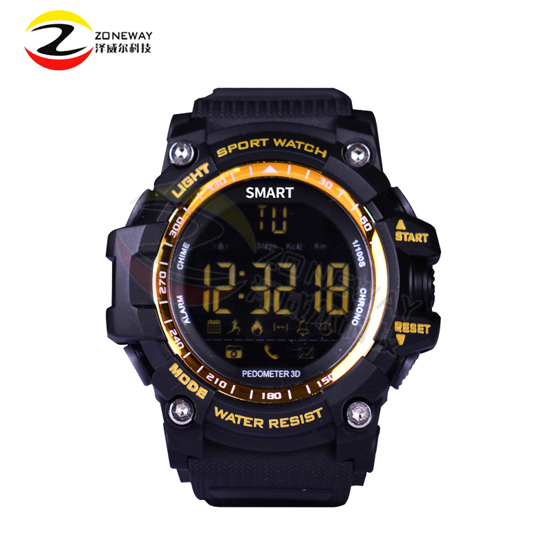 US $21 99 12% OFF|2017 New Sport smart watch EX16 buzzer sound alarm sport  monitor IP67 waterproof burned calory social interaction remote camera-in