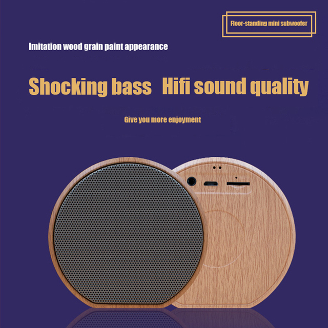 Wood Grain Bluetooth Speaker Portable Outdoor Wireless Mini Bluetooth Sound Box Support AUX TF Card For iPhone Huawei Xiaomi