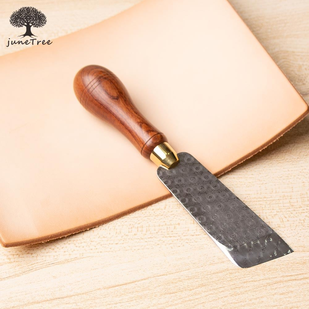 Junetree High Quality Damascus Steel Knife Cutter Cutting Leather Cut With Good Wooden Handle Professional Leather Craft