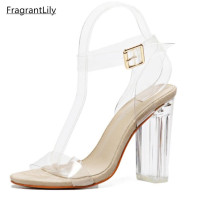 Newest Women Pumps Celebrity Wearing Simple Style PVC Clear Transparent Strappy Buckle Sandals High Heels Shoes