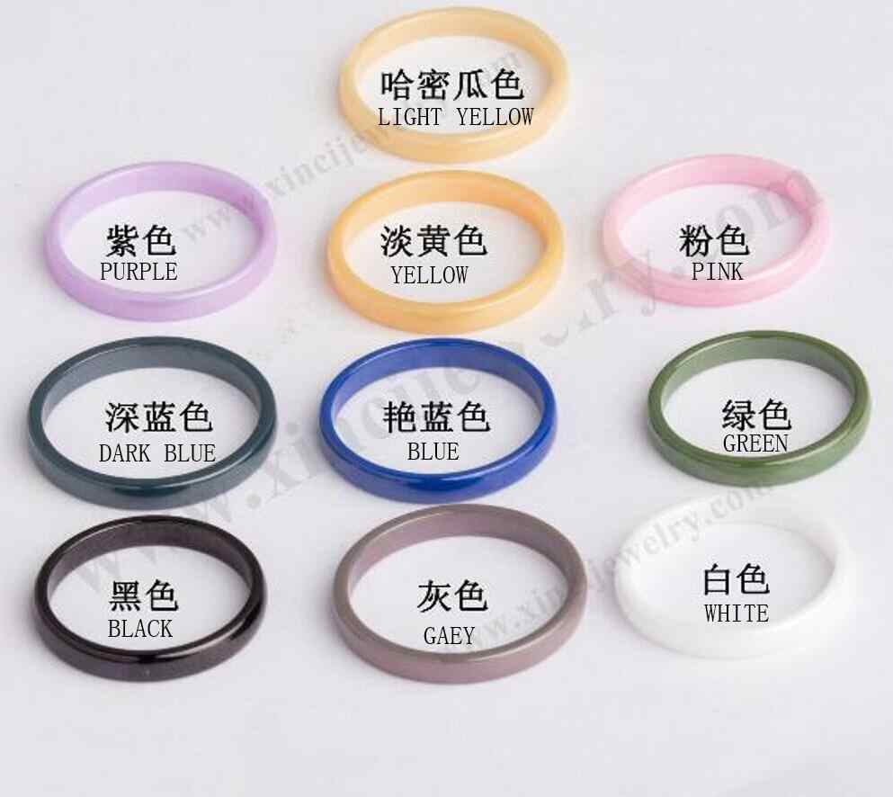 3 Mm Wajah Lebar Keramik Cincin Pasangan Mewah Putih Kuning Biru HITAM PINK Abu-abu untuk Pria dan Wanita Tidak fade 2019 Baru T1184