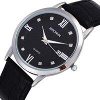 Homens relógios minimalistas woonun bling do diamante de quartzo relógios de pulso para homens super fino mens relógios relogio masculino