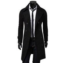 Мужчины Верхней Одежды Тонкий Стильный Плащ Зиму Куртка Двойной Брестед Шинель Шерстяные Пальто