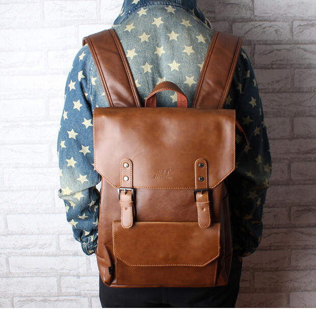 Online Shop New men backpacks vintage leather backpack big size ...