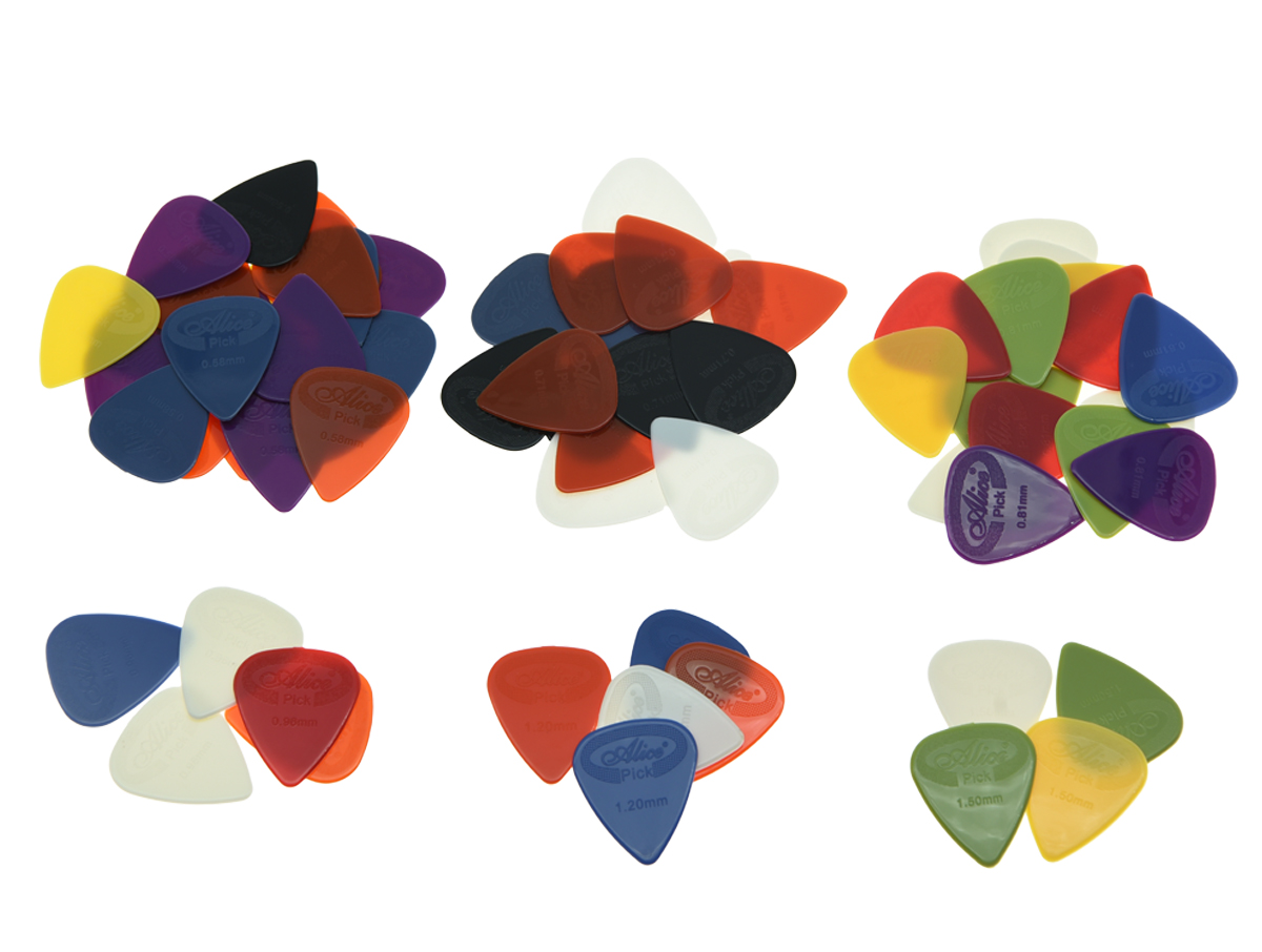 50pcs Alice Projecting Nylon Guitar Bass Picks Assorted Colors Thickness 0.58/0.71/0.81/0.96/1.2/1.5