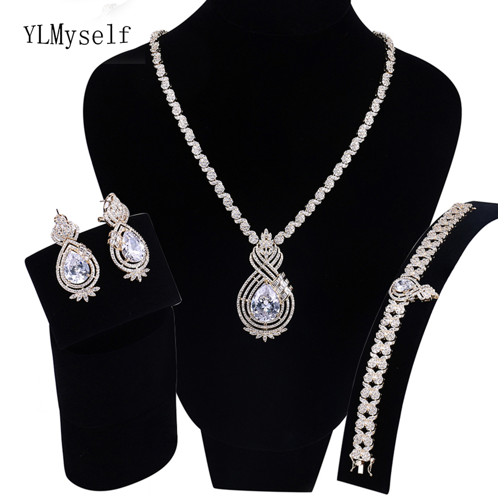 Luxury 4pcs jewelry sets supplier White and Gold plate Necklace+Bracelet+earrings+Free gift ring Large jewellery set for party plated gold jewelry sets four leaf clover necklace jewellery set best gifts for friends and lovers