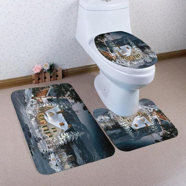 Strange Us 14 04 35 Off 3Pcs Christmas Toilet Seat Cover Rug Water Tank Cover Feet Pad Mat Bathroom Set Christmas Decoration For Home Non Slip Mat In Squirreltailoven Fun Painted Chair Ideas Images Squirreltailovenorg