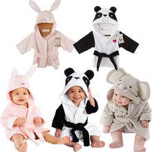 Focusnorm/Банный халат для малышей; детские пижамы; банный халат с изображением панды, мышки, кролика; домашняя одежда для малышей; Халат с капюшоном для мальчиков и девочек; пляжное полотенце;
