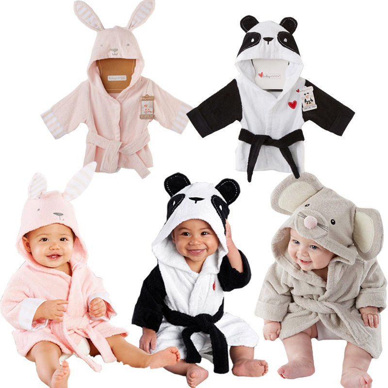 Baby Bathrobe Pajamas Beach-Towel Panda Rabbit Girls Boys Kids Children Free Focusnorm title=