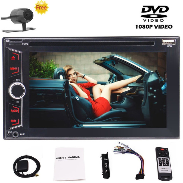 Backup Camera+Double Din 6.2'' Car Stereo In-Dash Vehicle GPS Navigation System Wince UI FM/AM HD Radio DVD/CD 1080P Video Play