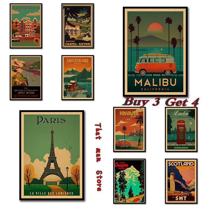 Vintage Travel Paris/London Poster Retro Kraft Travel Poster Decorative DIY Wall Sticker Home Bar Posters Decoration Kid Gift
