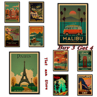 Viajes Vintage Paris/Londres cartel Retro Kraft cartel de viaje decorativo etiqueta de la pared DIY Bar carteles decoración chico regalo