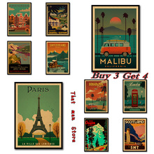 Vintage Travel Paris / London Poster Retro Kraft Travel Poster Dekoratif DIY Wall Sticker Dekorasi Rumah Bar Poster Kid Hadiah