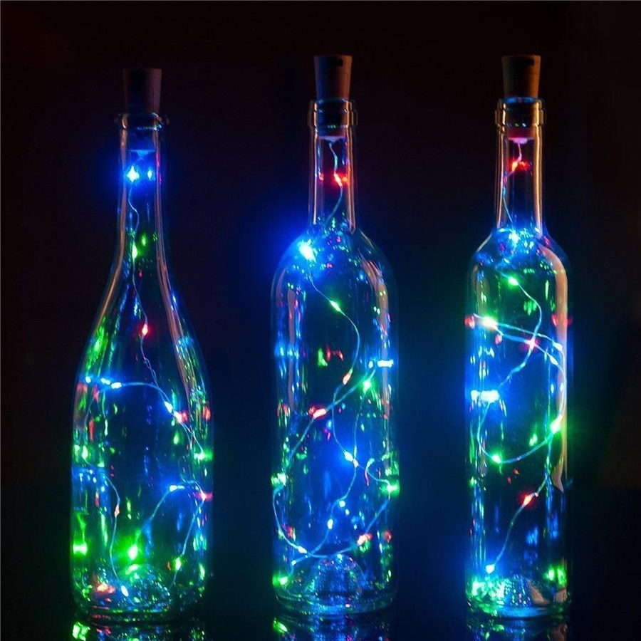 1Pcs 2m 20Leds Copper Wire led String Light Wine Bottle Cork Starry Rope Fairy Lights For Party Holiday Christmas Decoration