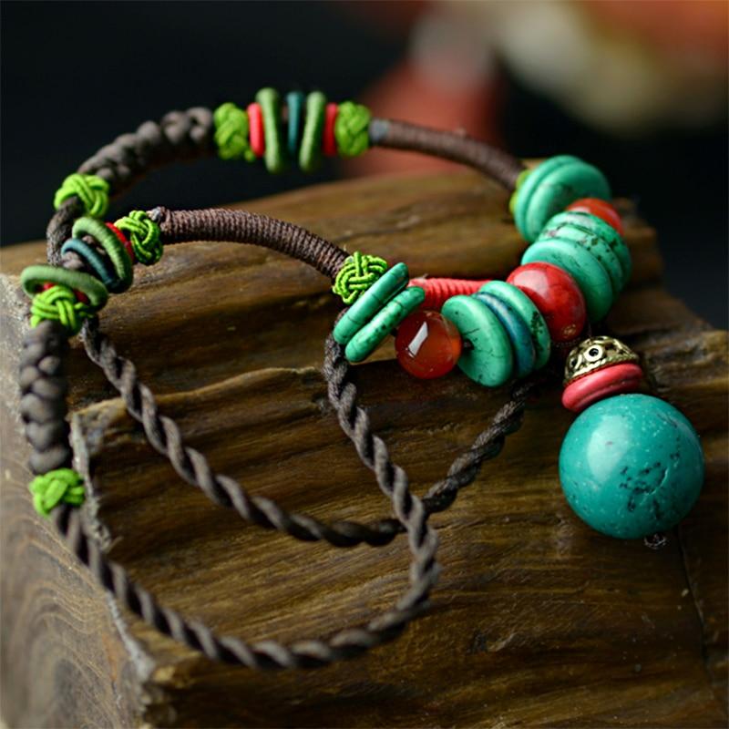 vintage choker ogrlica za žene konop od ananasa konopac plava - Modni nakit - Foto 4