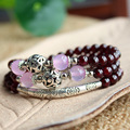 6 Colors Amethyst Beads Three-Layer 100% Natural Garnet Bracelet With Agate Accessories Thai Silver Plated Rosary Bracelets