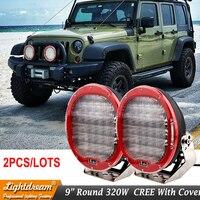 Round 320W led work light 9 inch Red Black led driving lights 12V 24V led off road light for SUV ATV UTV 4WD 4x4 Boat x 2pcs