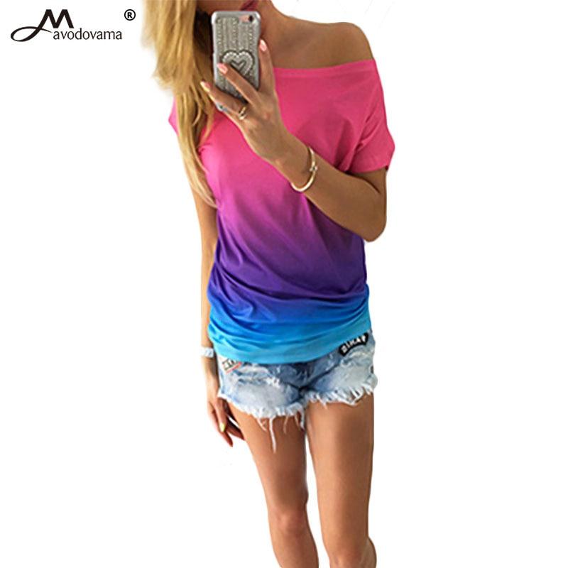 Avodovama M 2017 Nuove Donne di Stile Manica Corta Camicetta di Modo Del Manicotto Del Batwing Femminile Stampa Casual Tops