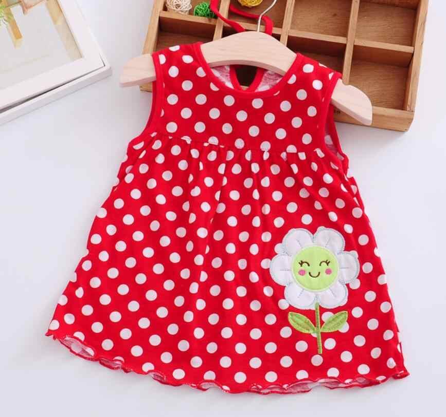 Cute Baby Girl Dress Cotton Regular Dot Senza Maniche Una Linea di Abiti Floreale Appliques Casual Dei Vestiti Della Principessa 0-24 Mesi