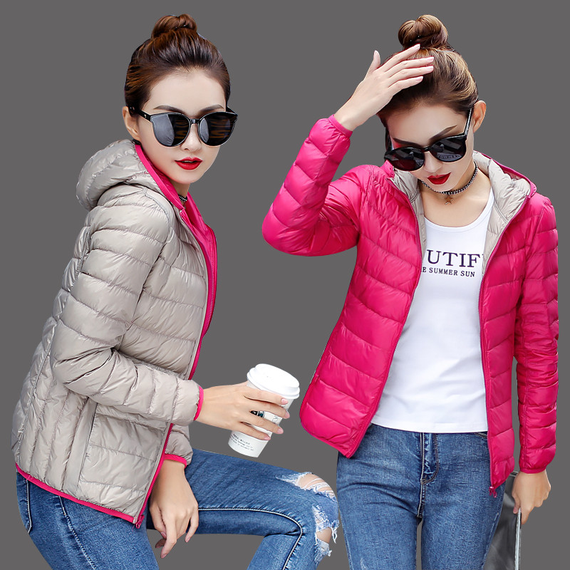 2018 high-end! women white duck   down   jacket   coat   parka Fashion autumn winter light Thin warm Women's jackets Hooded   coats   516