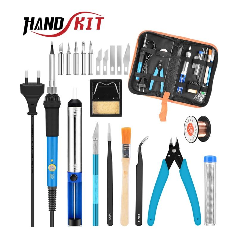 Handskit Soldering Iron Kit 220V 60W Adjustable Temperature Electric Soldering Iron 5pcs Tips  Desoldering Pump Solder Wire