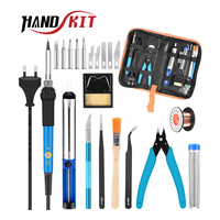 Handskit Soldering Iron kit 220V 60W Adjustable Temperature Electric Soldering Iron 5pcs Tips  Desoldering Pump Solder Wire