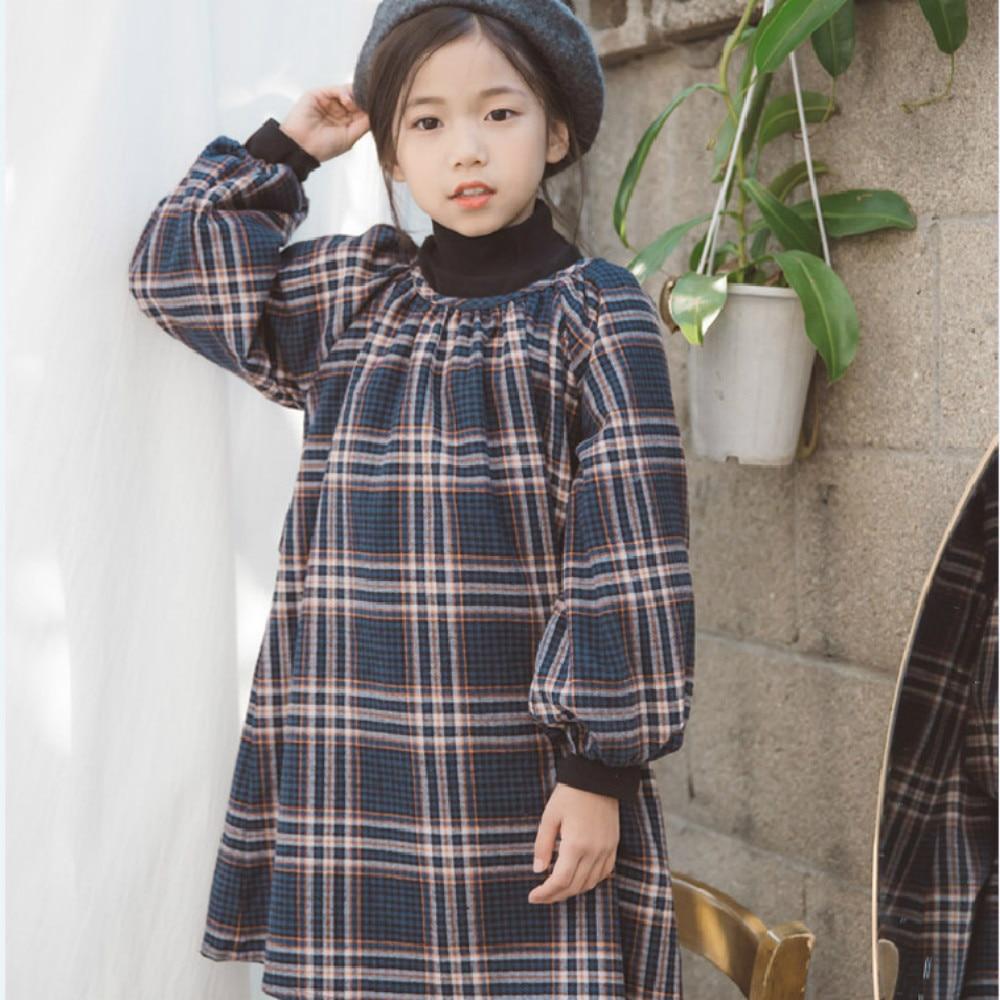 new Teens Girls Long Sleeve Plaid Dresses Children Cotton Dress Teenages Clothing Baby Girl Preppy Dress Branca De Neve CA451 plaid long sleeve belted midi dress