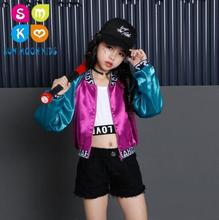 Niñas Hip Hop Jazz traje niños moderno baile de salón juego de los niños  que arropan los deportes trajes para niña 6 8 12 años f72e251acec