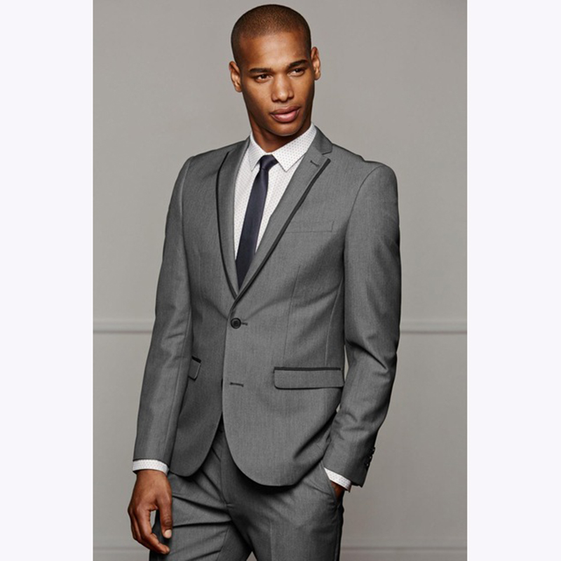 2018 Slim Fit Grey Luxury Male Mens Suits Blazer Wedding Suit Groom Tuxedo For men Business gray smoking dress Jacket+Pants