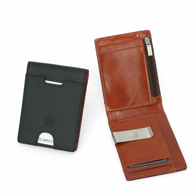 Top Quality Simple Style Money Clip Wallet with Coin Pocket Genuine Leather Clamp for Money Crad Holder Leather Purse for Gift