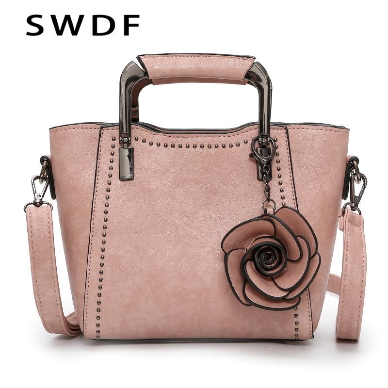 SWDF New Luxury Oil Flower Handbag Women Female Vintage Leather Bags Designer Shoulder Bag Ladies SAC A Main Capacity Totes Bags