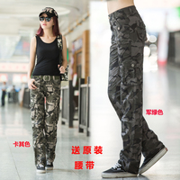 Discount Clothing casual pants female Camouflage straight trousers military multi pocket pants thin overalls cheap clothes china