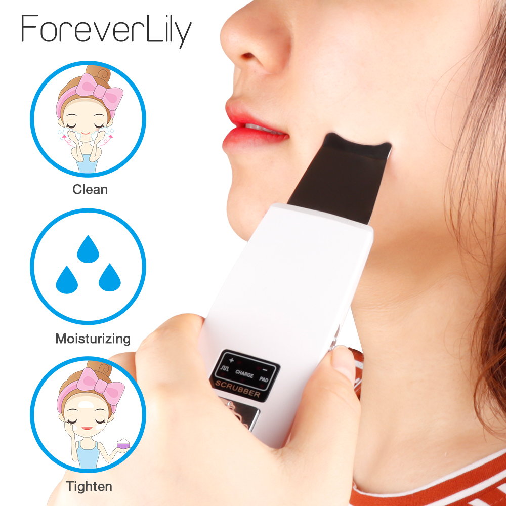 Rechargeable Ultrasonic Skin Scrubber Facial Care Cleanner Acne Deep Removal Blackhead Whitening Lifting Skin Massage Machine