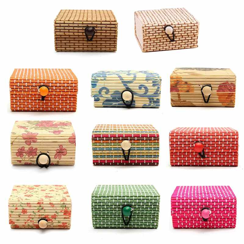 Cute Bamboo Wooden Ring Necklace Earrings Case Makeup Case Holder 11 Colors Cute Jewelry Box Storage Organizer