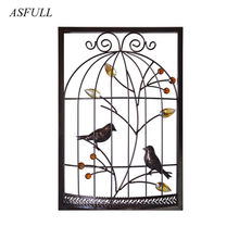 Traditional Chinese Style Bird Cage Iron Frame Furnishing Wall Hanging Creative Background Home For Living Room Wall Decoration(China)