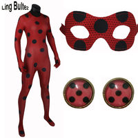 High Quality New Miraculous Ladybug Cosplay Costume Red Ladybug Costume Miraculous Spandex Suit New Red Miraculous